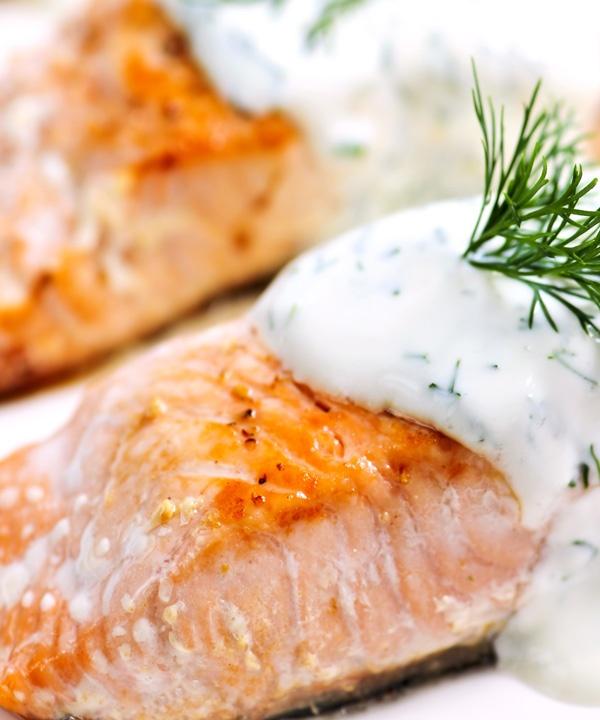 Pan seared #salmon fillet with creamy dill sauce #recipe