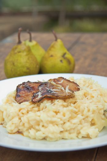 Gorgonzola and Pear risotto with candied pears