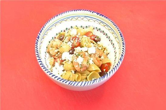 : Greek Style Pasta Shells with Shrimp, Black Olives, Tomatoes, Feta ...