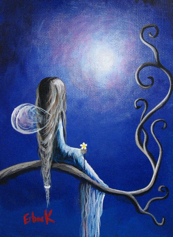 Original fairy painting erback art outsider pretty angel for Fairy painting easy