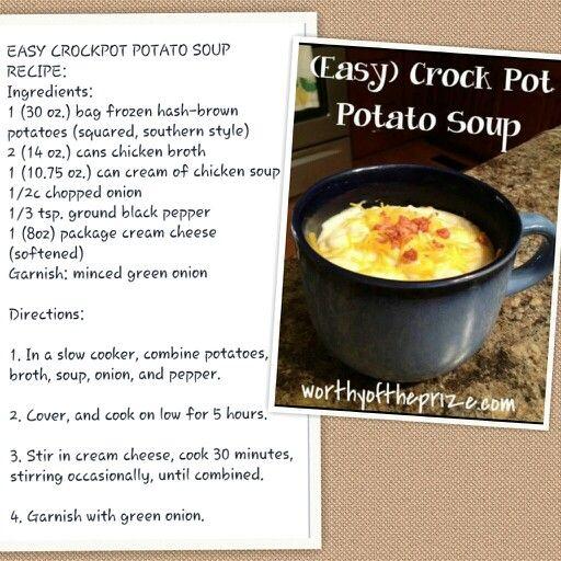 Easy Crock Pot Potato Soup DMR: Frozen hash browns, cream cheese...low ...