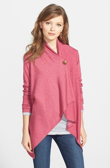Free shipping and returns on Bobeau Asymmetrical Fleece Wrap Cardigan (Regular & Petite) at Nordstrom.com. A dramatic, wrap-style cardi is cut with an asymmetrical hem and secured with a single button at the neckline.