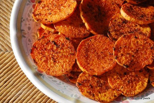 Sweet Potato Rounds spiced with Tajin (a Mexican spice mixture, sold ...