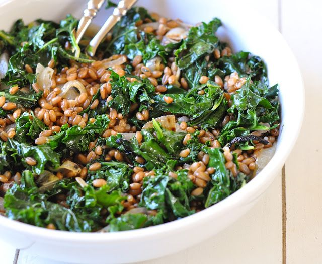 wheat berries with charred onions and kale – Marin Mama Cooks