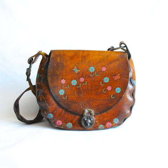 Vintage VTG Hippie Boho Bohemian Hand Tooled Leather Purse Bag Tote Case Shell Braided Strap 1960s 60s Festival Groovy Flower Power OG Real