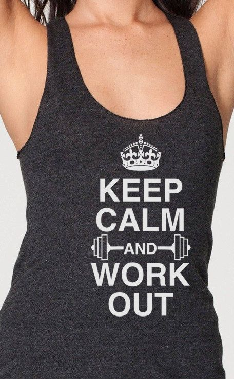keep calm and workout ladies Racerback Tank Top For Women American