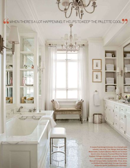 Clean white marble bathroom elegant for Master bathroom white