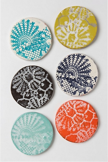 lacework coasters #anthropologie