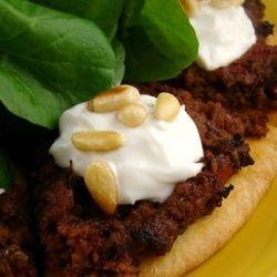 """Lahmahjoon ~ Armenian """"Pizza"""". Flatbread baked with savory & sp..."""