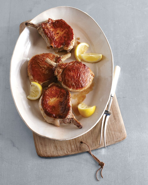 Seared and Roasted Pork Chops with Lemon | Recipe