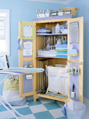 Ironing and laundry cupboard