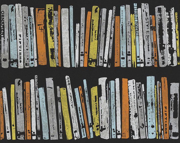 Retro Contemporary Vintage Book Shelf Wallpaper Library raditional ...