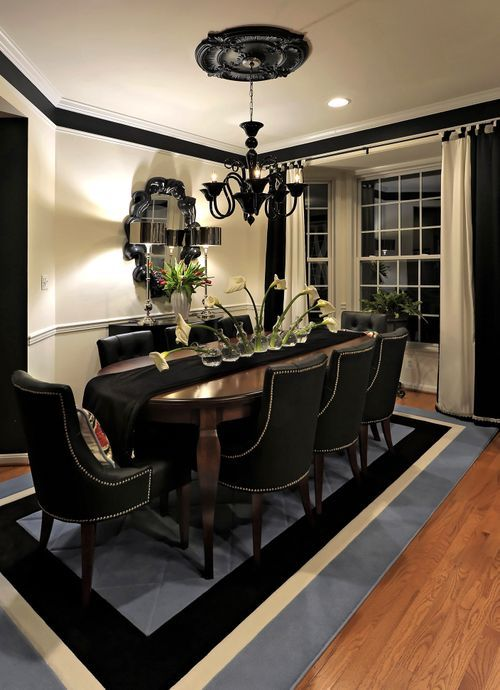 Black and cream dining room for the home pinterest for Dining room ideas cream