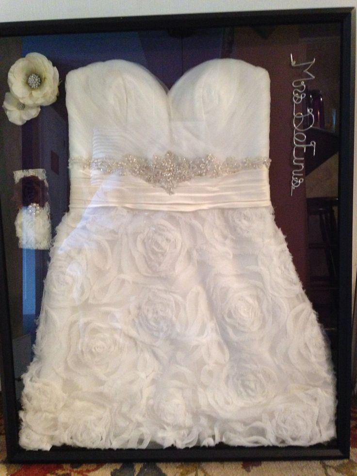 Pin by kristin lapp on i do pinterest for Wedding dress shadow box
