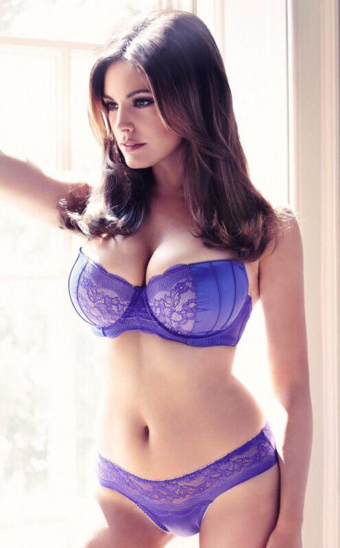 Purple lingerie brunette