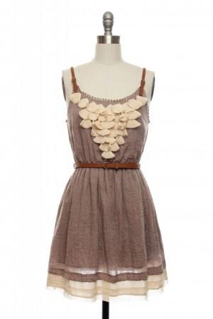 pretty scallopy neutral dress