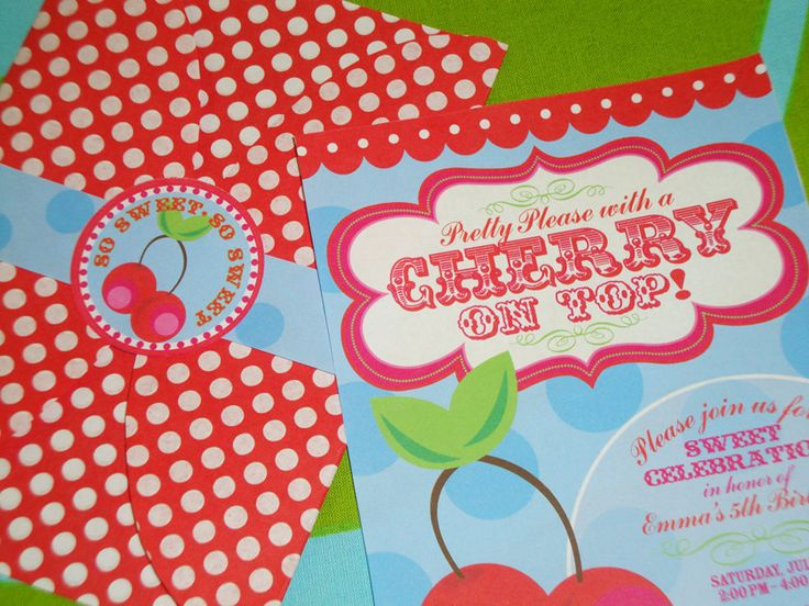 DIY Pretty Please with a Cherry on Top Invitation Suite. $25.00, via ...