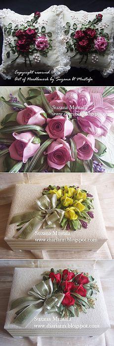Розы вышивка из атласных