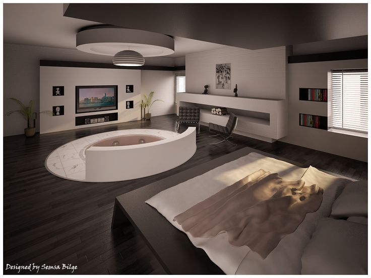 bedroom with hot tub yes i want it places and spaces
