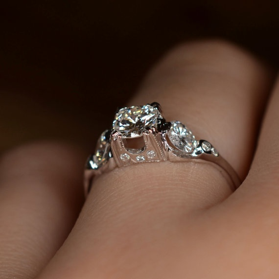 "Modern ""Floating"" Diamond Engagement Ring 18k White Gold"