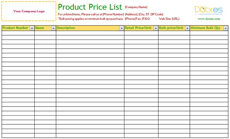 product price list template excel