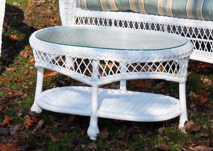 Outdoor wicker coffee table cape cod rectangular White wicker coffee table