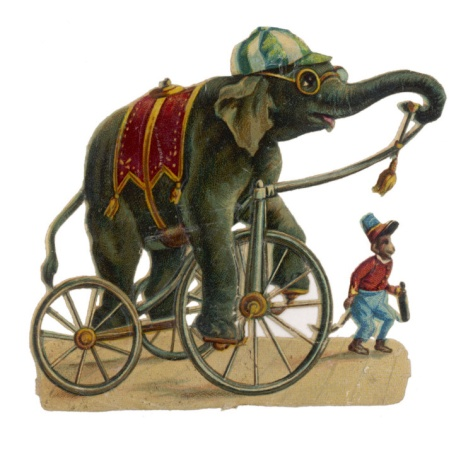 Circus Elephant and Monkey