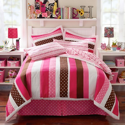 Cute pink and brown bedding pink and brown and blue and brown combi