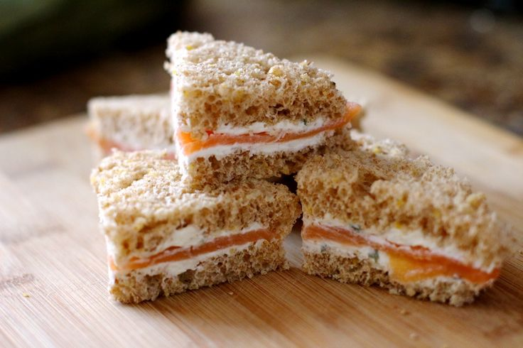Smoked Salmon Tea Sandwiches * add cucumber slices