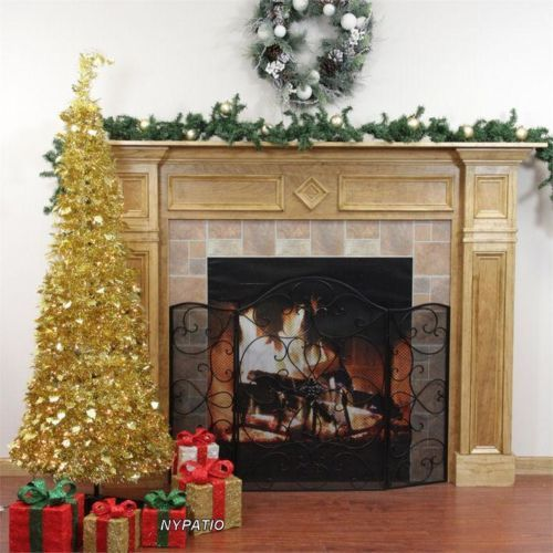 6 39 pre lit pop up gold tinsel christmas tree pull up 250. Black Bedroom Furniture Sets. Home Design Ideas