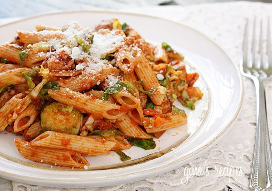 Autumn Penne Pasta with Sauteed Brussels Sprouts In A Light Ragu | Re ...