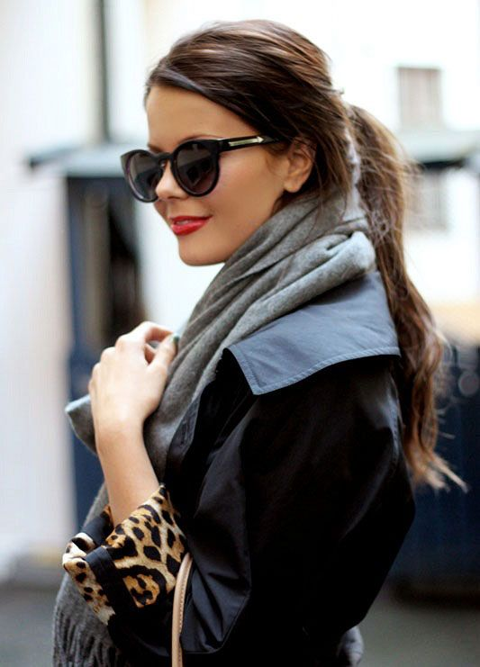 Pony, Sunglasses, Red Lips, Scarf, Leopard Cuffs...so much perfection in one outfit