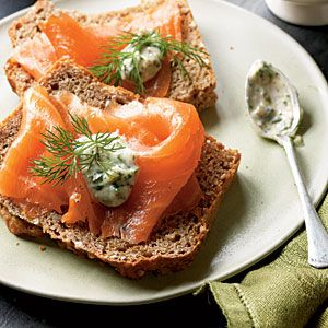 Smoked Salmon with Tangy Horseradish Sauce | CookingLight.com