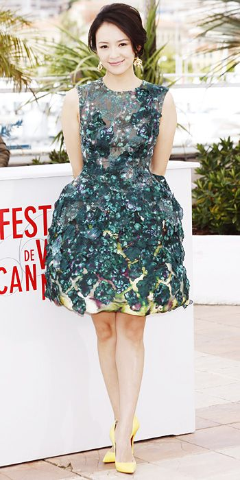 Zhang Ziyi in Giambattista Valli and yellow Christian Louboutin shoes in Cannes 2013