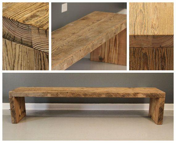 Sturdy Urban Wood Handmade Reclaimed Wood Plank Bench - FREE SHIPPING ...