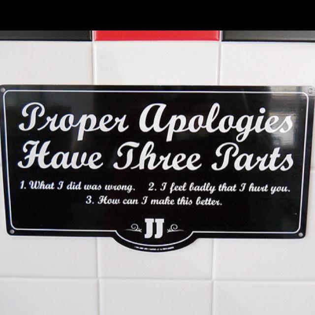 Proper apologies