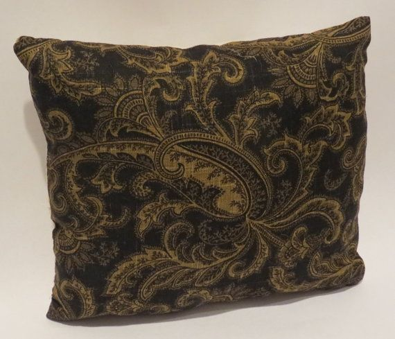 Brown Throw Pillows Etsy : Black and Brown Paisley THROW PILLOW