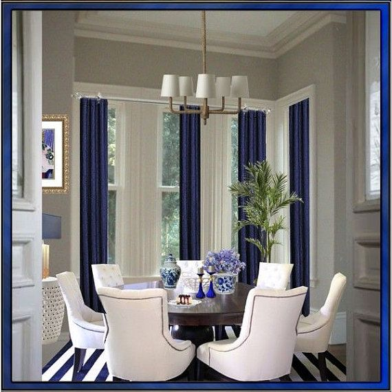 Set of 4 blue royal burlap curtains panels 48 x 84