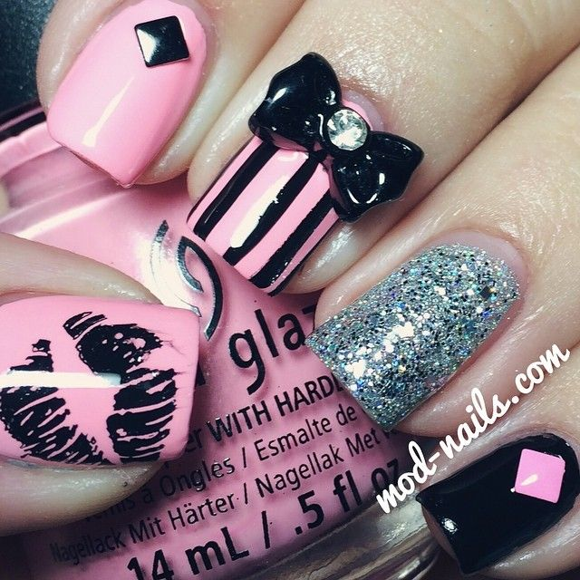 Pink and black! Instagram media by modnails #nail #nails #nailart