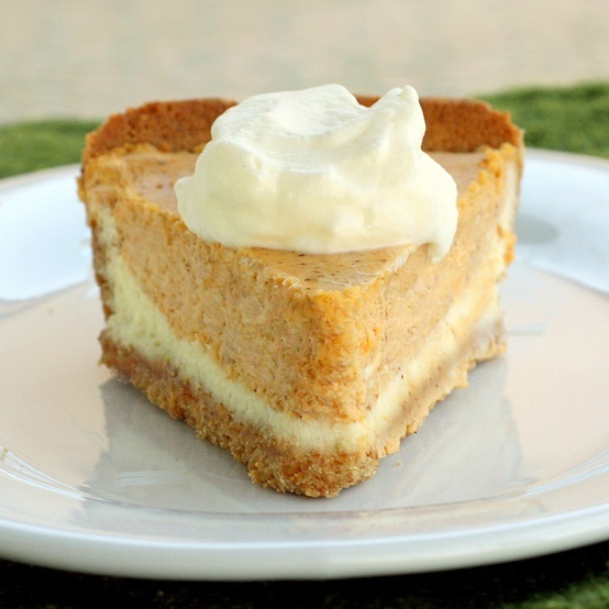 Pumpkin pie double layer cheesecake easy Thanksgiving