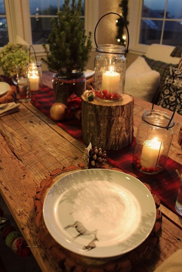 love the short trunk piece with mason jar candle on top. christmas table decor 30 Christmas Decorating Ideas To Get Your Home Ready For The Holidays