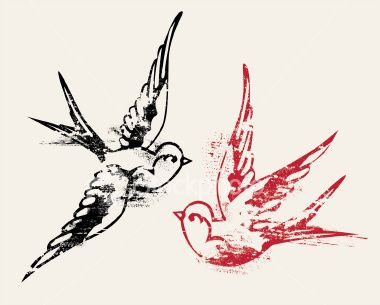 swallow tattoos. i love this!  one in pink, one in blue!