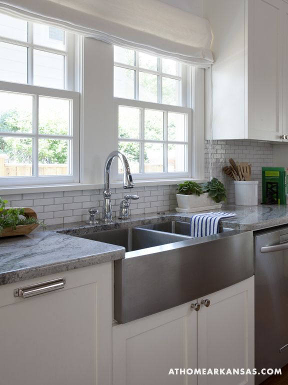 stainless steel deep farmhouse sink + mini white subway tile with ...