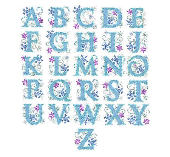 Ice Princess Alphabet Frozen Applque Embroidery Design AL007