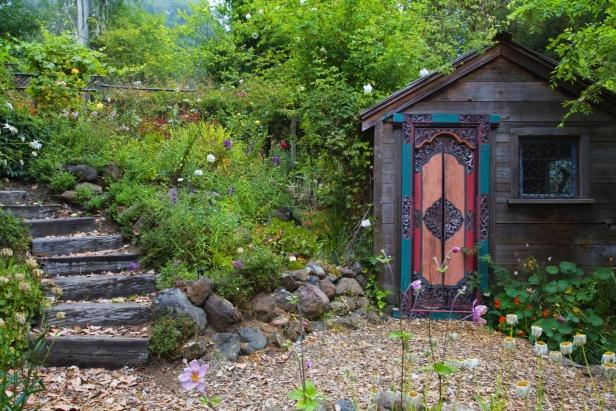 Garden house w fancy door  Garden Potting Sheds & Conservatories