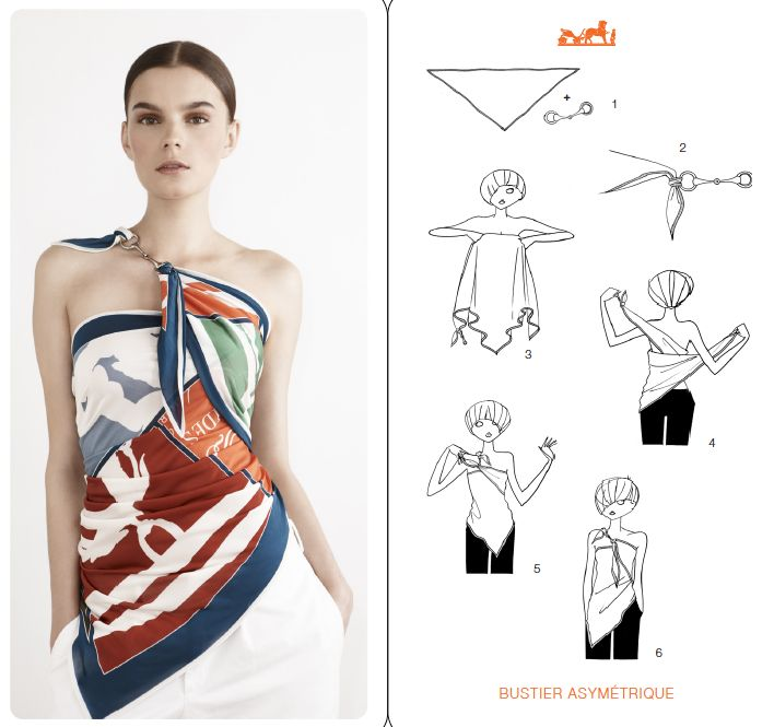 Herms scarf as topfor the very slim ladies LOL How To Wear Hermes Scarf As A Top