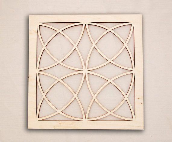 Geometric Design Wall Art : Square celtic geometric wall art raw wood home decor
