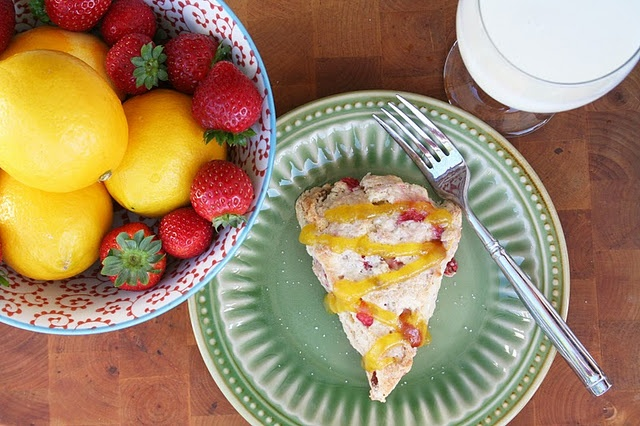 strawberry scones with meyer lemon curd Mmmm... makes me hungry