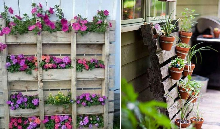 Pallet flower bed auroaria pinterest for Flower beds out of pallets
