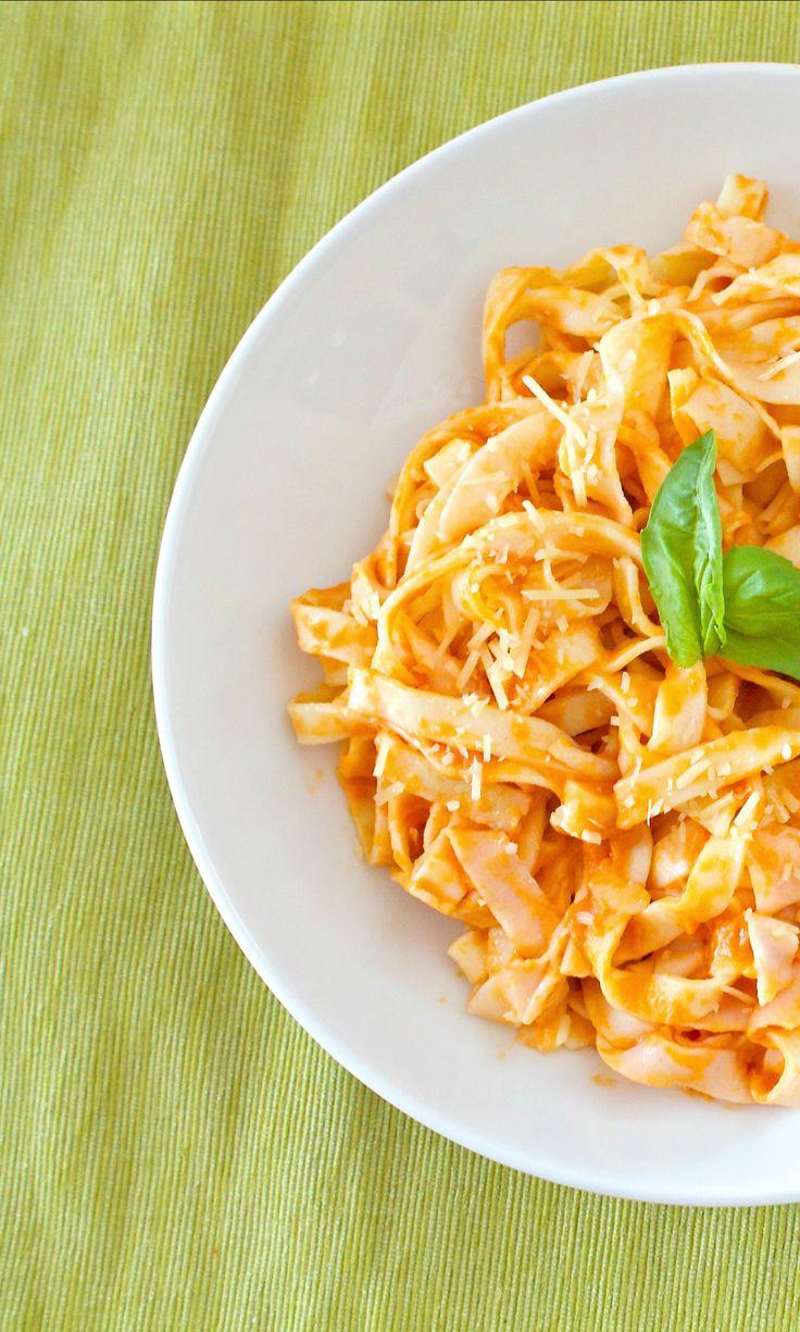 gluten-free fresh pasta with creamy vodka sauce